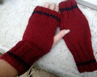 Burgundy and black mittens hand-made, original