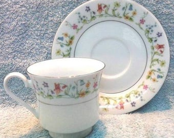Multi-flowered Teacup & Saucer, Vintage