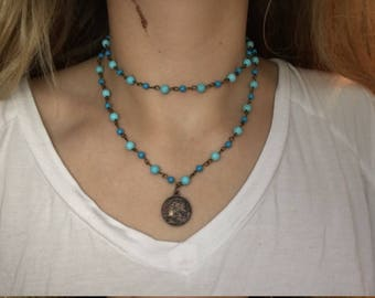 Blue and turquoise double bead necklace