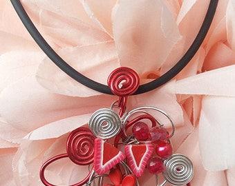 """Gluttony Strawberry"" aluminum pendant necklace"