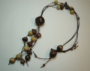Brown seed long necklace