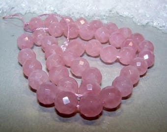 Rose quartz ball 10 mm faceted. Semi precious stone.