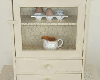 Small wooden rustic kitchen display cupboard with drawers