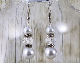 Sparkly Earrings | White Pearl Earrings | White Earrings | Bridal Earrings | Wedding Earrings | Gift for Her Under 25 Dollars | Gift for Mom