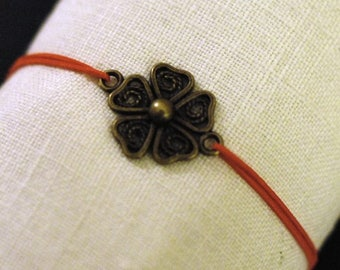 Vintage red flower bracelet