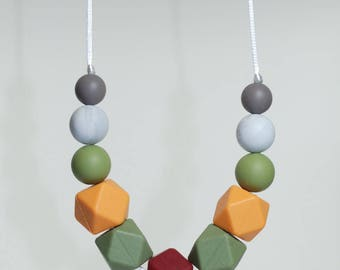 Teething necklace pumpkin silicone beads