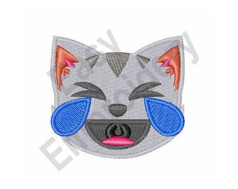 Laughing Cat With Tears - Machine Embroidery Design