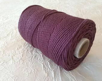 Cotton cord. Twisted cotton cord. Cotton rope. Macrame rope - spool of 100% cotton rope - 3 mm - eggplant.
