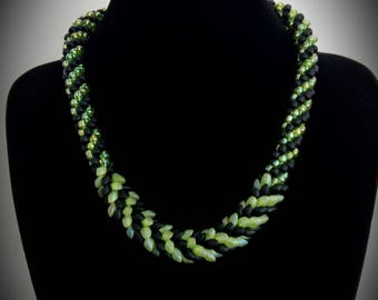 Necklace beads matte black and iridescent Green