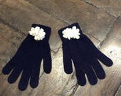 Navy Blue gloves finish ivory flower ring
