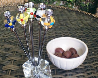 Floral snack fork table set with acrylic base and glass art