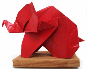 Origami sculpture large red elephant - 27cm