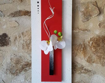 Red and white floral painting with white orchids and wavy twigs