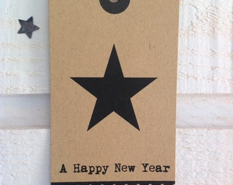 "Set of 6 star Kraft greeting card ""A happy New Year"""