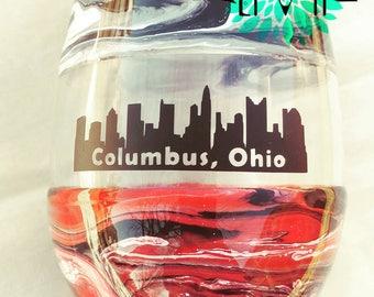 4 glass set Columbus Ohio Skyline Wine glasses