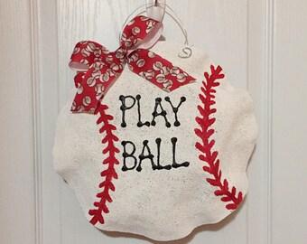 Personalized Baseball Burlap Hanger