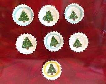 Bottle Cap Christmas Tree Magnets