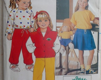 Children's Vest, Top, Skirt, Pants Pattern, Cabbage Patch - Vintage Butterick 6590 - Size 6