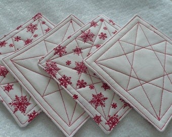 Quilted Coasters for Christmas, Hostess Gift, Housewarming, Friend, Coworker - White with Red Snowflakes (Set of 4)