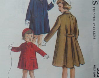 Girl's, Children's Coat Pattern, circa 1950, Vintage McCall's 3555, Size 4 - RARE