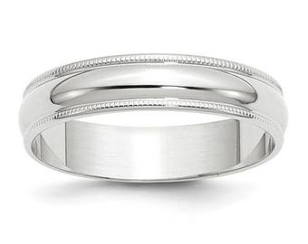 New Solid 10k White Gold Milgrain 5mm Wedding Band Sizes from 4 - 14. Solid Stamped 10k White Gold, Made in the U.S.A.