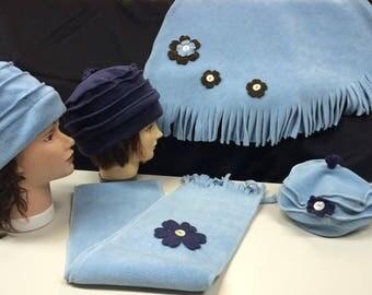Child or adult fleece set compose same sky blue