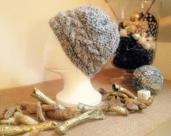 Speckled gray hand knitted woman Hat