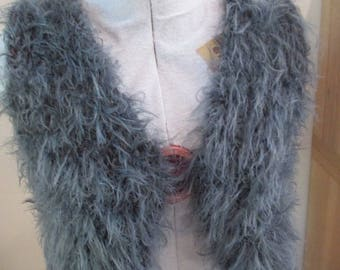 grey Burgundy wool Bolero soft fur, gift