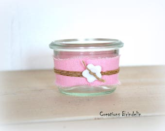Pot dragees or candy in pink linen, Twine and flower button