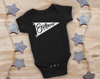 EXPLORER onesie, baby onesie, baby shower gift, new baby gift, trendy baby gift, baby girl onesie, baby boy onesie, newborn onesie