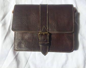 100% leather color dark brown shoulder bag Messenger bag rectangular