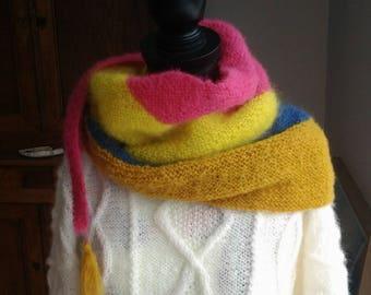 Multicolored mohair/acrylic woman shawl