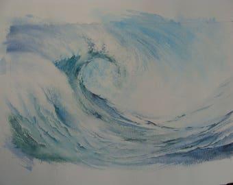 """Wave"" performed humorous watercolor 31 x 41"