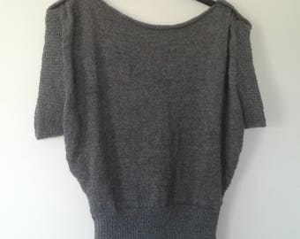 Sweater was sleeves short knitted for women