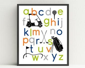 Golf Alphabet Poster, Nursery Art Print, Kids Wall Art, Golf Cart, Golf Bag, Golf Clubs, Tee, Kids Golf Bedroom, Choose Your Custom Colors