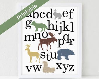 Printable Woodland Alphabet Poster, Printable Nursery Art, Boy, ABC,  Deer, Bear, Moose, Fox Instant download