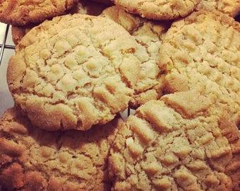 One Dozen Large Soft Crunchy Peanut Butter Cookies