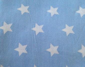 Blue stars cotton coupon white