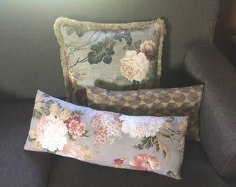 Designer Pillows, Hand Made, Custom Floral, 3