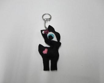 """Keychain """"Fawn"""" felt black with flower rose"""