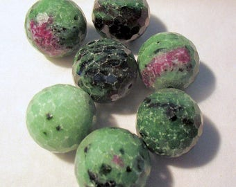 Ruby zoisite - faceted - pierced - ref95150 - 18mm - 7 x