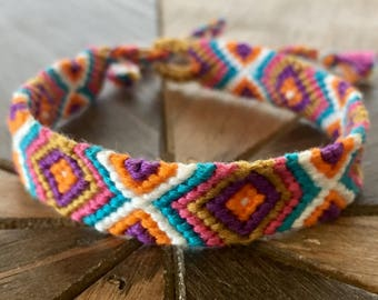 Chevron and Diamond Friendship Bracelets – Handmade friendship bracelets – Woven friendship bracelets – Hippie Bracelets – Boho Jewelry