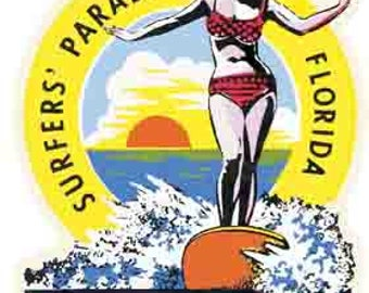 Vintage Style  Cocoa Beach Florida  Surfing  1960's     Travel Decal bumper sticker surf surfboard