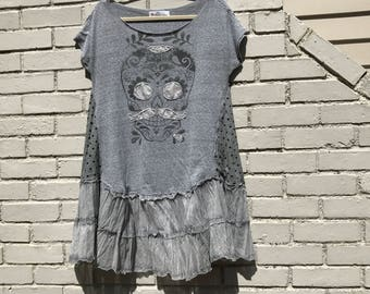Goth, Sugar Skull, Day of the Dead, upcycled dress/tunic, Large-XL, Festival clothing, Melbury Road.