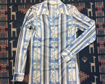 1970s Vintage Men's Polyester Shirt - Men's M