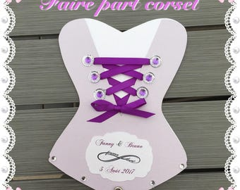 Corset of customizable wedding invitation