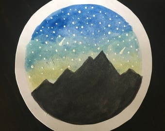 Large Watercolor Night Sky Sticker
