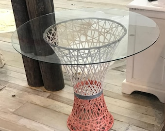 Woven Rattan Vintage Side Table