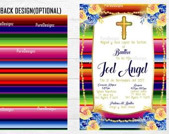 Bautizo Invitations,Mi Bautizo Invitations, Mexican Fiesta Baptism Invitations, Mexican Bautizo Invitations, Invitaciones Bautizo,