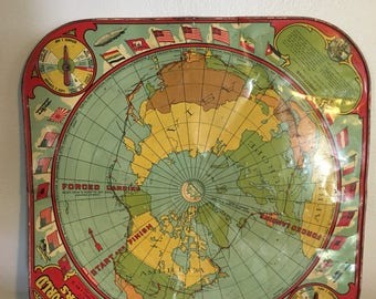 Round The World Fliers Gameboard / Vintage Game / Wall Hanging / Decor